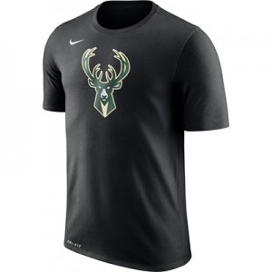 """Milwaukee Bucks Nike Logo T-Shirt – Black – Mens"""