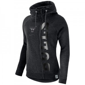 """Chicago Bulls Nike Modern Cape Hoodie – Black Heather – Womens"""