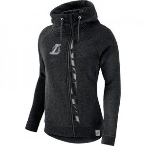 """Los Angeles Lakers Nike Modern Cape Hoodie – Black Heather – Womens"""