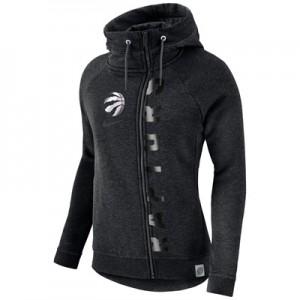 """Toronto Raptors Nike Modern Cape Hoodie – Black Heather – Womens"""