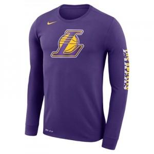 """Los Angeles Lakers Nike Logo Long Sleeve T-Shirt – Court Purple – Mens"""