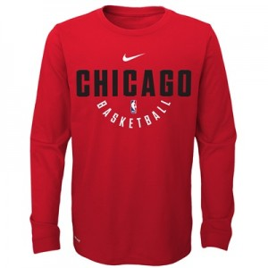"""Chicago Bulls Nike Elite Practise Long Sleeve Top – University Red – Y"""