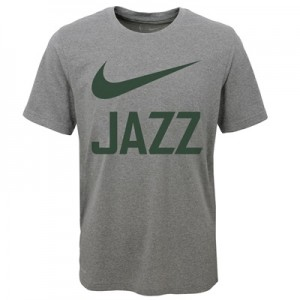 """Utah Jazz Nike Swoosh T-Shirt – Dark Grey Heather – Youth"""
