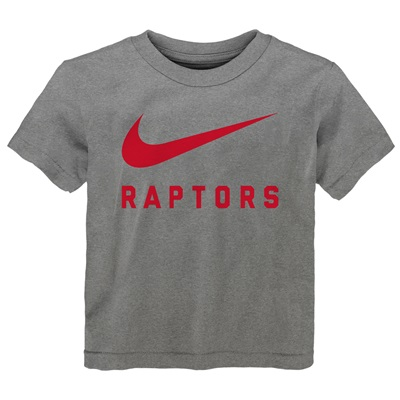 """Toronto Raptors Nike Swoosh T-Shirt – Dark Grey Heather – Kids"""