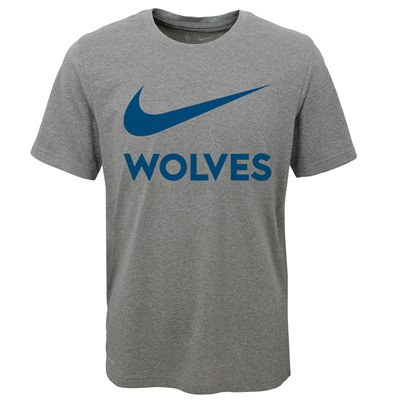 """Minnesota Timberwolves Nike Swoosh T-Shirt – Dark Grey Heather – Youth"""