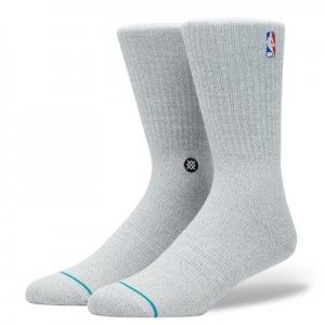 """NBA Stance Logoman Crew Sock – Heather Grey – Mens"""