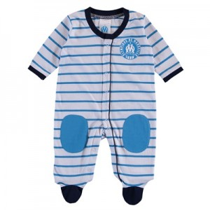Olympique de Marseille Striped Sleepsuit – White/Blue – baby