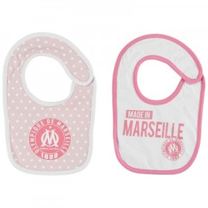 Olympique de Marseille Spotty 2PK Bibs – White/Pink – Baby Girls