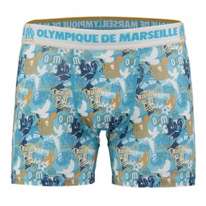 Olympique de Marseille Graffiti Boxer Shorts – Blue – Mens