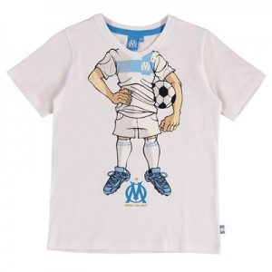 Olympique de Marseille Cartoon Silhouette T-Shirt – White – Boys