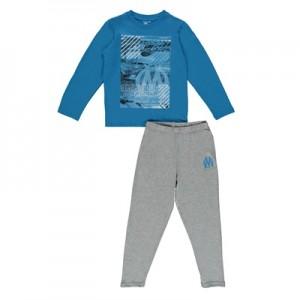Olympique de Marseille Long Pyjamas – Blue/Grey – Boys