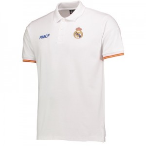 Real Madrid Crest Polo Shirt - White - Mens