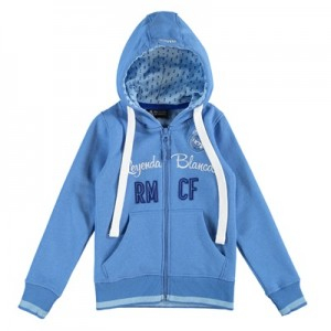 Real Madrid Applique Full Zip Hoodie – Royal Blue – Girls
