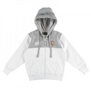 Real Madrid Full Zip Hoodie – White/Grey – Junior