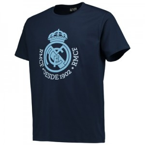 Real Madrid Tonal Crest T-Shirt – Navy – Junior