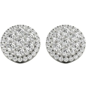 1.19 TCW White Gold Diamond Halo Pave Earrings E20218W