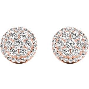 .66 TCW Rose Gold Diamond Halo Pave Earrings E20233R