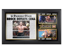 "Brock Lesnar & Paul Heyman Signed ""Eat Sleep Suplex Repeat"" Limited Edition Plaque"