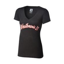 WrestleMania 31 Tri-Blend Black Women's V-Neck T-Shirt