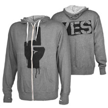 "Daniel Bryan ""YES Rebellion"" Grey Lightweight Full-Zip Hoodie Sweatshirt"
