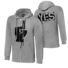 "Daniel Bryan ""YES Rebellion"" Grey Youth Full-Zip Hoodie Sweatshirt"