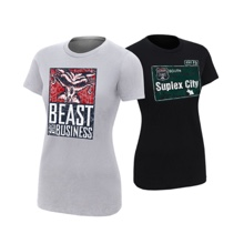 "Brock Lesnar & Paul Heyman ""Beast For Business/Suplex City"" Women's Authentic T-Shirt Package"