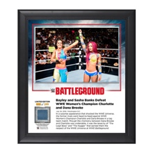 Bayley & Sasha Banks Battleground 2016 Commemorative 15 x 17 Framed Plaque w/ Ring Canvas