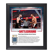 Sami Zayn Battleground 2016 15 x 17 Commemorative Framed Plaque w/ Ring Canvas