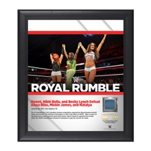 Nikki Bella, Becky Lynch, Naomi Royal Rumble 2017 15 x 17 Framed Plaque w/ Ring Canvas
