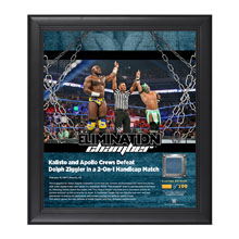 Kalisto & Apollo Crews Elimination Chamber 2017 15 x 17 Framed Plaque w/ Ring Canvas