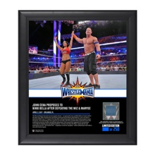 John Cena & Nikki Bella WrestleMania 33 15 x 17 Framed Plaque w/ Ring Canvas