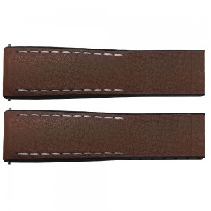 Breitling 24mm Brown Leather Strap with Black Rubber Inner Lining 295S