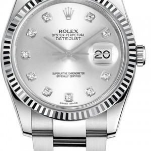 Rolex Datejust 36 Silver Diamond Men's Watch 116234