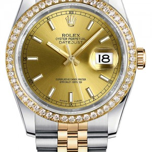 Rolex Datejust 36 Gold Dial Women's Watch 116243