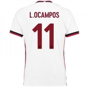 AC Milan Away Shirt 2017-18 with L. Ocampos 11 printing