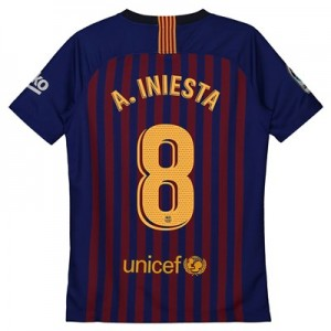 Barcelona Home Vapor Match Shirt 2018-19 – Kids with A. Iniesta  8 printing