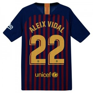 Barcelona Home Vapor Match Shirt 2018-19 – Kids with Aleix Vidal 22 printing