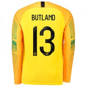 England Goalkeeper Stadium Shirt 2018 with Butland 13 printing