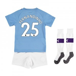Manchester City Home Mini Kit 2019-20 with Fernandinho 25 printing