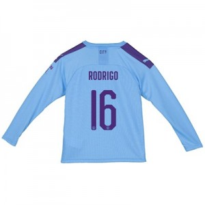 Manchester City Cup Home Shirt 2019-20 – Long Sleeve – Kids with Rodrigo 16 printing