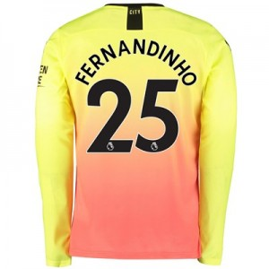 Manchester City Third Shirt 2019-20 – Long Sleeve with Fernandinho 25 printing