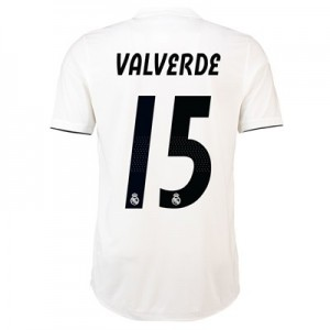 Real Madrid Home Authentic Shirt 2018-19 with Valverde 15 printing