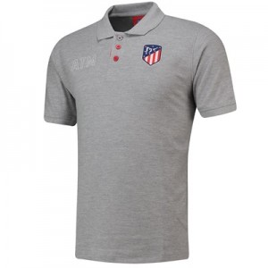 Atlético de Madrid Crest Polo Shirt - Grey - Mens