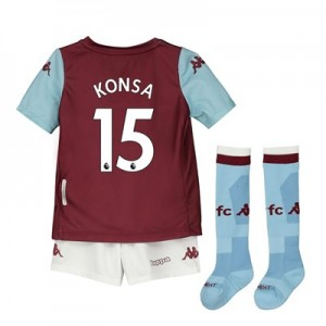 Aston Villa Home Minikit 2019-20 with Konsa 15 printing