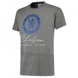 Chelsea Script Logo T-Shirt - Grey Marl - Mens