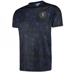 Chelsea Camo Effect Printed Poly T-Shirt - Navy - Mens