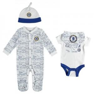 Chelsea 4pc Baby Giftset – 2 Bodysuit Cap and Bib – White/Blue – Baby