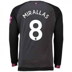 Everton Away Shirt 2018-19 - Long Sleeve with Mirallas 8 printing