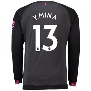 Everton Away Shirt 2018-19 - Long Sleeve with Y.Mina 13 printing