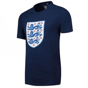 England Large Printed Crest T-Shirt - Navy - Mens